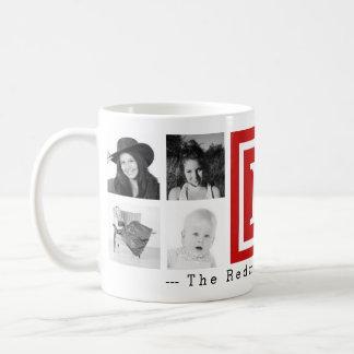 Instagramの8つの写真のコラージュが付いているはっきりしたで赤いモノグラム コーヒーマグカップ