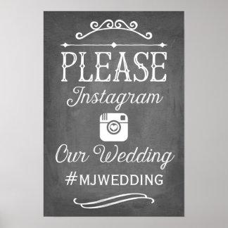 Instagram Hashtagの印|の結婚の装飾 ポスター