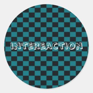 intereactionのチェック模様のステッカー ラウンドシール