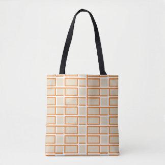 Interlocking Orange and White Rectangle Pattern トートバッグ