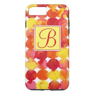 Intertactionsのピンクの黄橙色の赤いモノグラム iPhone 7 Plusケース