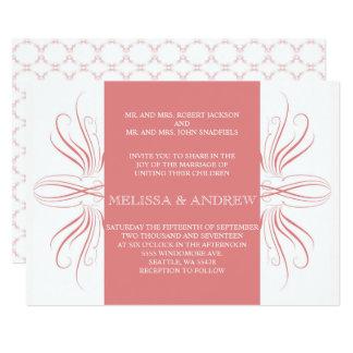inviationを結婚する珊瑚のエレガントなカーブ 12.7 x 17.8 インビテーションカード