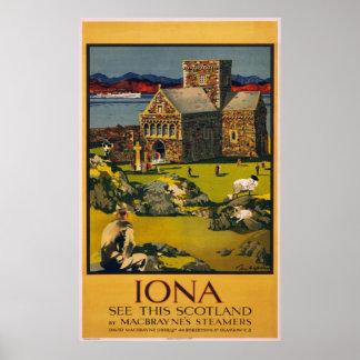 Iona -このスコットランドを見て下さい-ヴィンテージ旅行ポスター ポスター