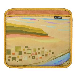iPadの場合の砂漠1のデザインの金ゴールドのトリム iPadスリーブ