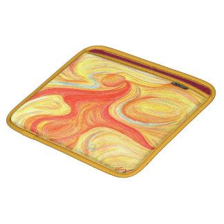 iPadの場合の赤いダンサーのデザインの金ゴールドのトリムの赤いライニング iPadスリーブ