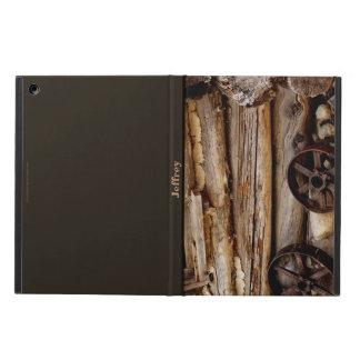 iPadの空気箱、錆ついた荷馬車の車輪、ブラウンの背部 iPad Airケース
