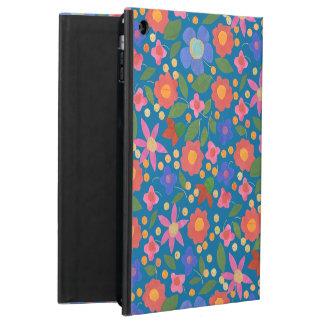 iPadの空気Powisの青い箱の民芸のスタイルの花柄