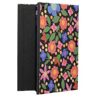 iPadの空気Powisの黒い箱の民芸のスタイルの花柄 iPad Airケース