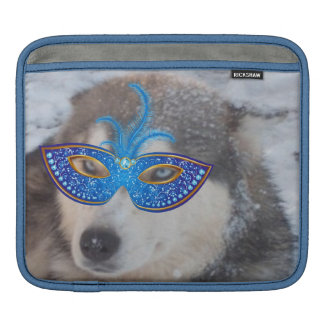 Ipadの袖のハスキーな青い目の謝肉祭のマスク iPadスリーブ