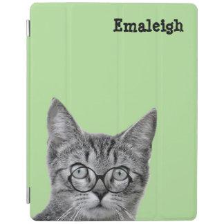 iPad 2,3,4カバー-緑のガラスを持つ猫 iPadスマートカバー