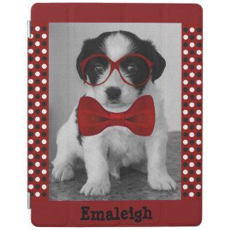 iPad 2,3,4カバー-赤いちょうネクタイガラスを持つ子犬 iPadスマートカバー