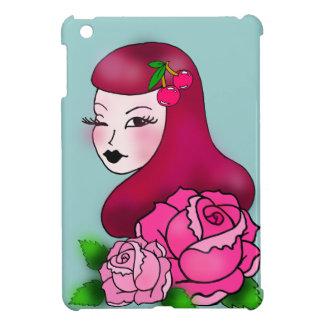 iPad Miniカバーバラを持つレトロの入れ墨の女の子 iPad Miniカバー