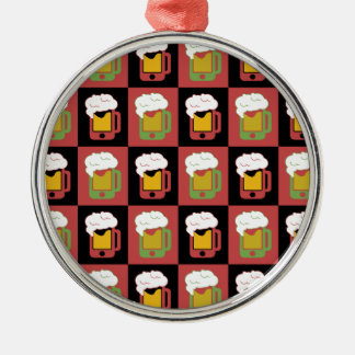 iphoneビールマグパターン格子 メタルオーナメント