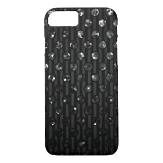 iPhone場合の黒いSparkleyの7つの宝石 iPhone 8/7ケース