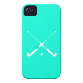 iPhone 4のフィールドホッケーのシルエットのターコイズ Case-Mate iPhone 4 ケース