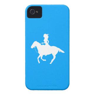 iPhone 4の穹窖の女性のカーボーイ3のシルエットの青 Case-Mate iPhone 4 ケース