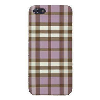 iphone 4ケースの薄紫かチョコレート色の格子縞パターン iPhone 5 カバー