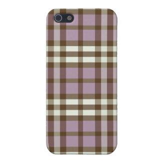 iphone 4ケースの薄紫かチョコレート色の格子縞パターン iPhone 5 case