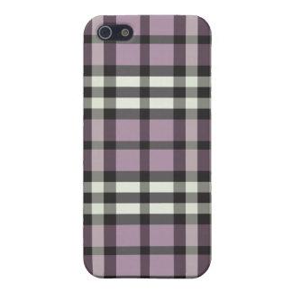 iphone 4ケースの薄紫か黒い格子縞パターン iPhone 5 カバー