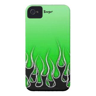 Iphone 4 bt -黒い金属の炎 Case-Mate iPhone 4 ケース