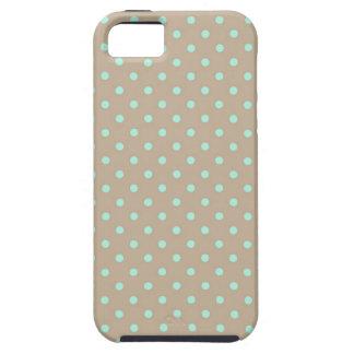 iPhone 5つの場合の熱い緑およびベージュ水玉模様 iPhone SE/5/5s ケース