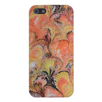 iPhone 5の場合によって大理石模様をつけられるオレンジ黒 iPhone 5 Case