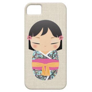 iPhone 5の場合- Kokeshiの人形のピンクおよびオレンジ iPhone SE/5/5s ケース