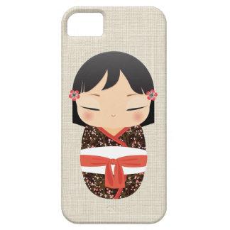 iPhone 5の場合- Kokeshiの人形の白および赤 iPhone SE/5/5s ケース
