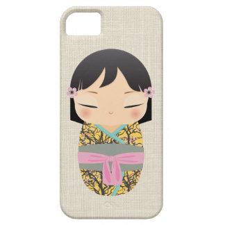 iPhone 5の場合- Kokeshiの人形の緑およびピンク iPhone SE/5/5s ケース