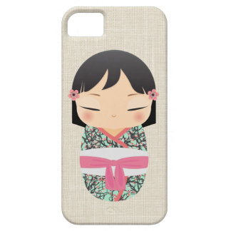 iPhone 5の場合- Kokeshiの人形の薄紫およびピンク iPhone SE/5/5s ケース