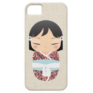 iPhone 5の場合- Kokeshiの人形の青および白 iPhone SE/5/5s ケース