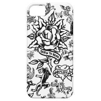 iphone 5の白くおよび黒い入れ墨の箱 iPhone SE/5/5s ケース