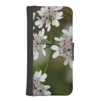 iphone 5/5sのためのかわいらしい白い花 iPhoneSE/5/5sウォレットケース