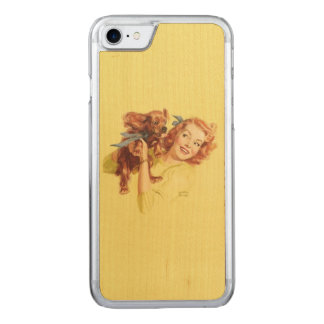 iPhone 5/5sの上の愛情のある子犬PINは木を細くします Carved iPhone 8/7 ケース