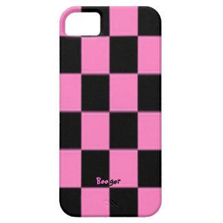 Iphone 5 IDの-ピンクおよび黒いチェッカーボード iPhone SE/5/5s ケース
