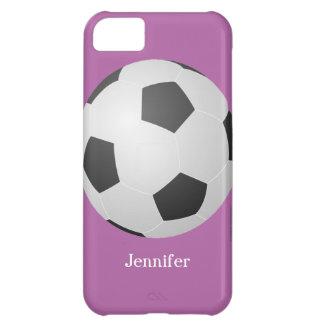 iPhone 5cケース、サッカーボール、名前入りな紫色 iPhone5Cケース