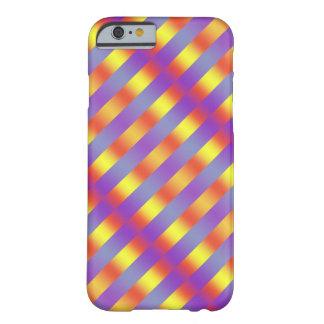 iPhone 6/6sの場合のピンクの青い黄色のストライプ Barely There iPhone 6 ケース