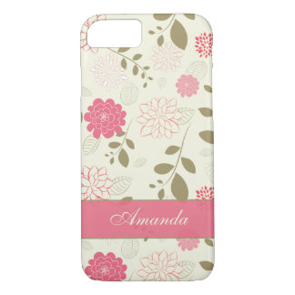 iPhone 7つの場合|の花、葉|のピンクの緑のアイボリー iPhone 8/7ケース