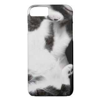 iPhone 7の場合(blk&wht)のための愛らしい猫のラッパー iPhone 8/7ケース