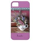 iPhone SEによっての5/5s場合のティーポットは紫色、蘭が開花します iPhone SE/5/5s ケース