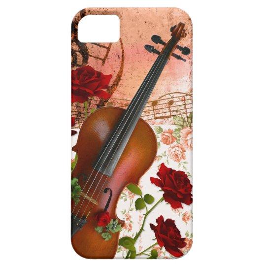 iPhone SE + iPhone5/5S ケース ヴァイオリン 薔薇 violin