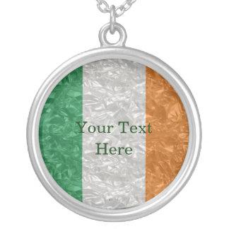 Ireland Flag - Crinkled シルバープレートネックレス
