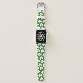 Irish Lucky Shamrock Green White Pattern Apple Watchバンド