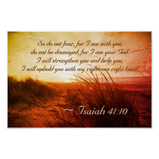 Isaiah 41:10 Bible Verse Do not fear I am with you ポスター