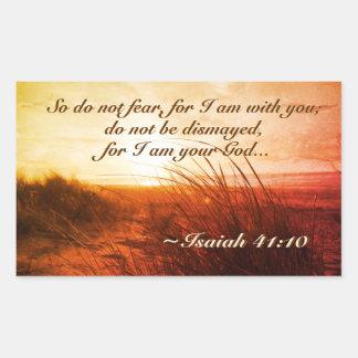 Isaiah 41:10 Bible Verse Do not fear I am with you 長方形シール