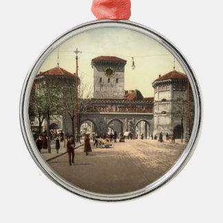 Isartor、ミュンヘンのババリア、ドイツ シルバーカラー丸型オーナメント