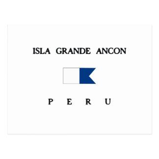 IslaのグランデAnconのペルーのアルファ飛び込みの旗 ポストカード