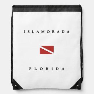 Islamoradaフロリダのスキューバ飛び込みの旗 ナップサック