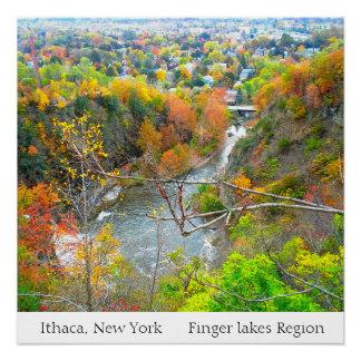 ITHACAニューヨーク指湖の地域ポスター ポスター