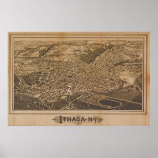 Ithacaニューヨーク1882の旧式なパノラマ式の地図 ポスター